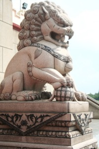 Lion as the guard to protect the holy place in Chinese temple